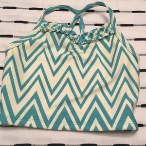 Zig Zag Teal & White Swim Top